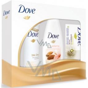 Dove Silk deodorant sprej 150 ml + sprchový gel 250 ml + krémová tableta 100 g, kosmetická sada