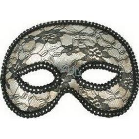 Škraboška plesová stříbrná s krajkou 19 cm vhodná pro dospělé
