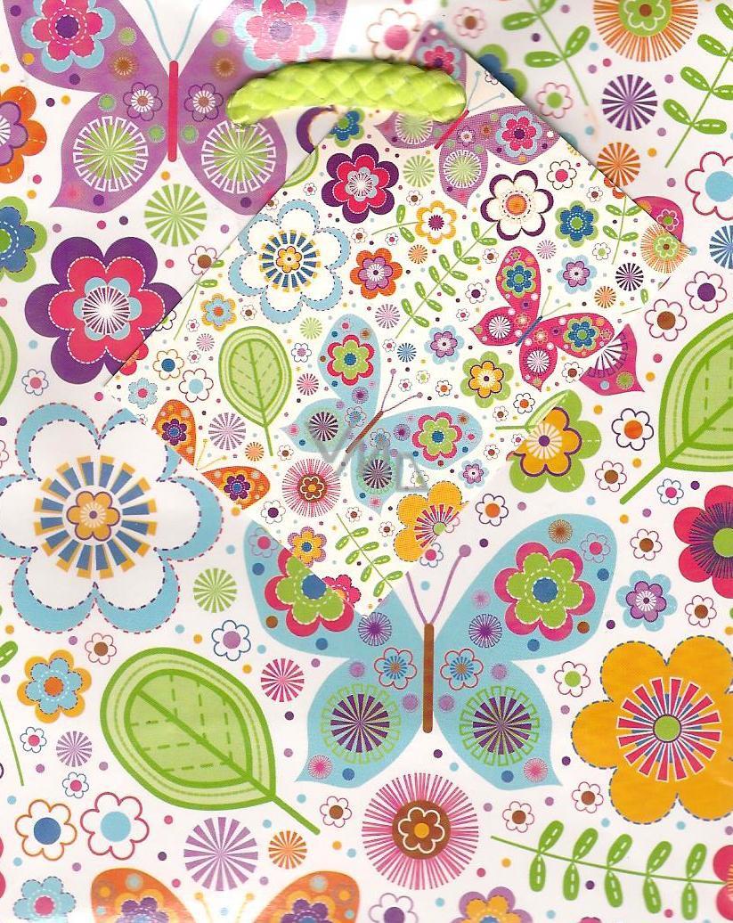 Nekupto Dárková papírová taška malá 14 x 11 x 6,5 cm motýlci 1 kus 803 02 BS