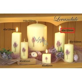 Lima Květina Levandule vonná svíčka slonová kost s obtiskem levandule válec 60 x 120 mm 1 kus