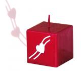 Lima Valentýnská svíčka červená krychle 45 x 45 mm