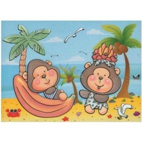 Malování vodou se štětcem Opičky 20 x 15 cm