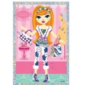 Vyškrabávací obrázek panenky s 2 kabelkami 21,5 x 11 cm