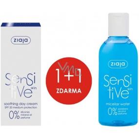 Ziaja Sensitive Skin SPF20 zklidňující denní krém redukující podráždění 50 ml + Ziaja Sensitive Skin micelární voda pro citlivou pleť 200 ml, duopack